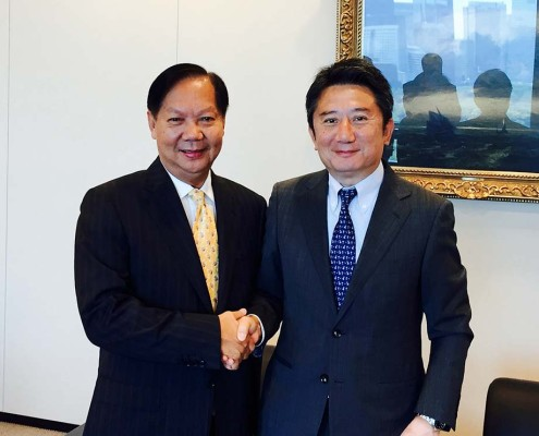 "Tan Sri Halim Mohammad with the new President of ""K"" Line – Mr. Eizo Murakami"